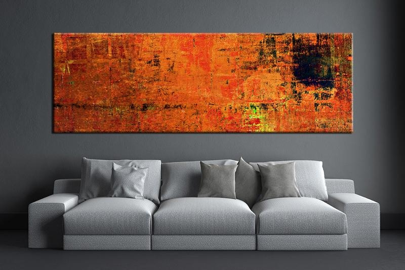 Elegant 1 Piece Orange Wall Art Abstract Canvas Print In Prepare 5 Intended For Abstract Wall Art For Bathroom (Image 11 of 20)