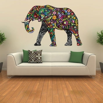 Elephant Decal, Kids Wall Sticker From Nurseryroomwallart On Etsy With Regard To Abstract Elephant Wall Art (View 14 of 15)