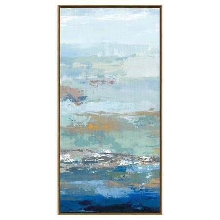 Embellished Canvas Abstract Art Throughout Blue And Brown Abstract Wall Art (Image 7 of 20)