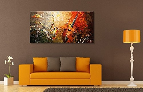Everfun Art Hand Painted Oil Painting On Canvas Modern Music Pertaining To Abstract Wall Art For Living Room (Image 9 of 15)