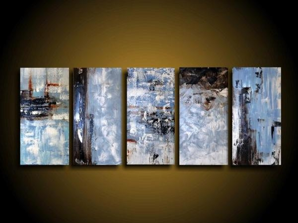 Extra Large Abstract Art Modern Painting Wall Art Blue Painting Inside Brown Abstract Wall Art (Photo 13 of 20)