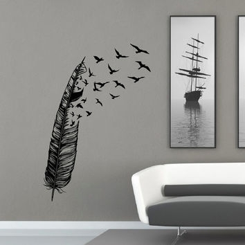 Feather Flying Bird Wall Decal Vinyl From Fabwalldecals On Etsy Regarding Abstract Art Wall Decal (Image 6 of 15)