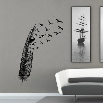 Feather Flying Bird Wall Decal Vinyl From Fabwalldecals On Etsy With Regard To Abstract Bird Wall Art (View 19 of 20)
