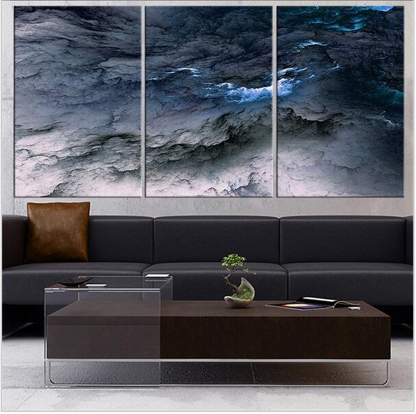Fineart Collection Dark Blue Abstract Wall Painting For Home Decor Regarding Dark Blue Abstract Wall Art (View 10 of 15)