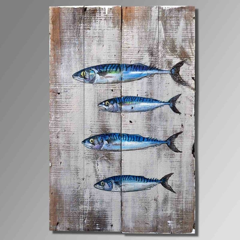 Fish Oil Painting Theme, Upscale Old Wooden Hand Painted Oil For Abstract Fish Wall Art (View 14 of 15)