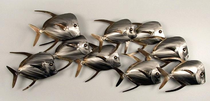 Fish Shoal Metal Wall Art Contemporary Sculpture Wall Fish Intended For Abstract Metal Fish Wall Art (View 15 of 15)