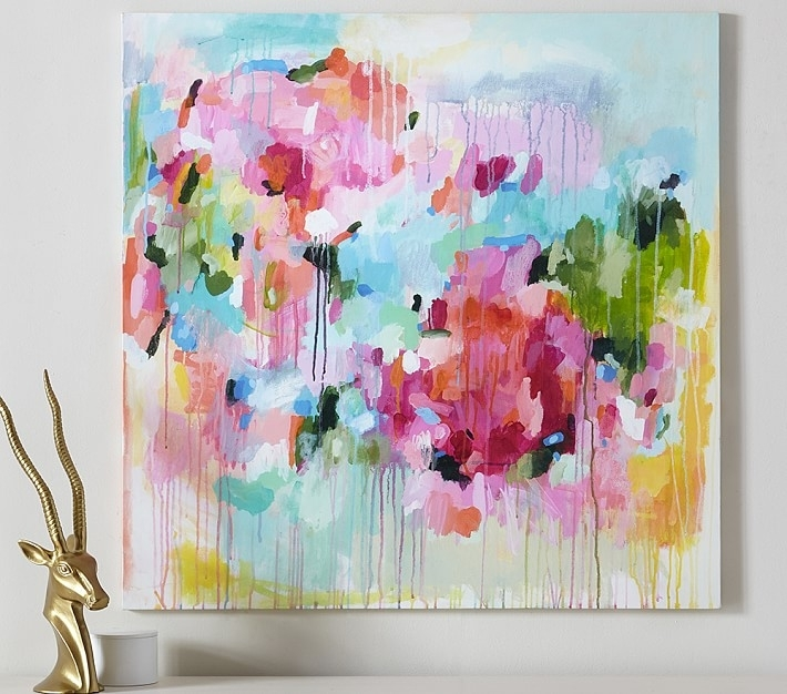 Floral Color Pop Canvas Wall Art | Pottery Barn Kids Inside Abstract Floral Wall Art (Image 7 of 15)