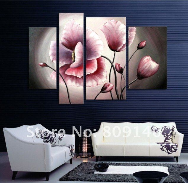 Flower Oil Painting Contemporary Abstract Art Canvas Hand Painted With Abstract Floral Wall Art (Image 8 of 15)