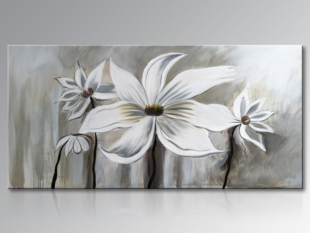 Framed Hand Painted White Lotus Flower Oil Painting On Canvas Intended For Abstract Floral Canvas Wall Art (Image 9 of 15)