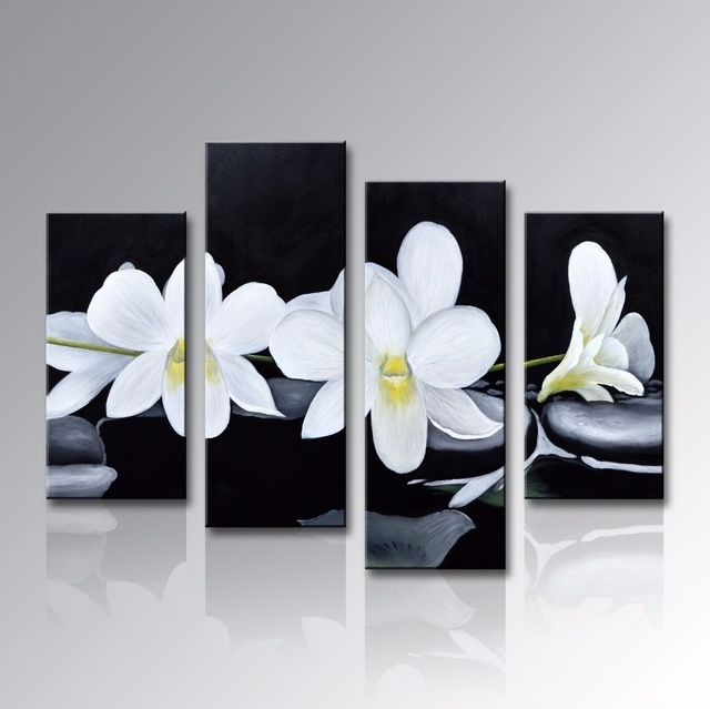 Framed Handmade Modern White Red Flower Oil Painting 4 Panels In Abstract Floral Canvas Wall Art (Image 10 of 15)