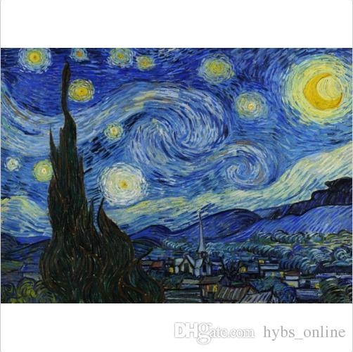 Framed Pure Handpainted Vincent Van Gogh – Starry Night Abstract Pertaining To Vincent Van Gogh Multi Piece Wall Art (Image 8 of 20)