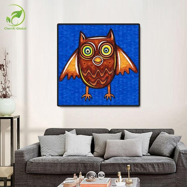 Frameless Paintingnumbers Abstract Owl Paintings Home With Regard To Abstract Animal Wall Art (View 7 of 20)