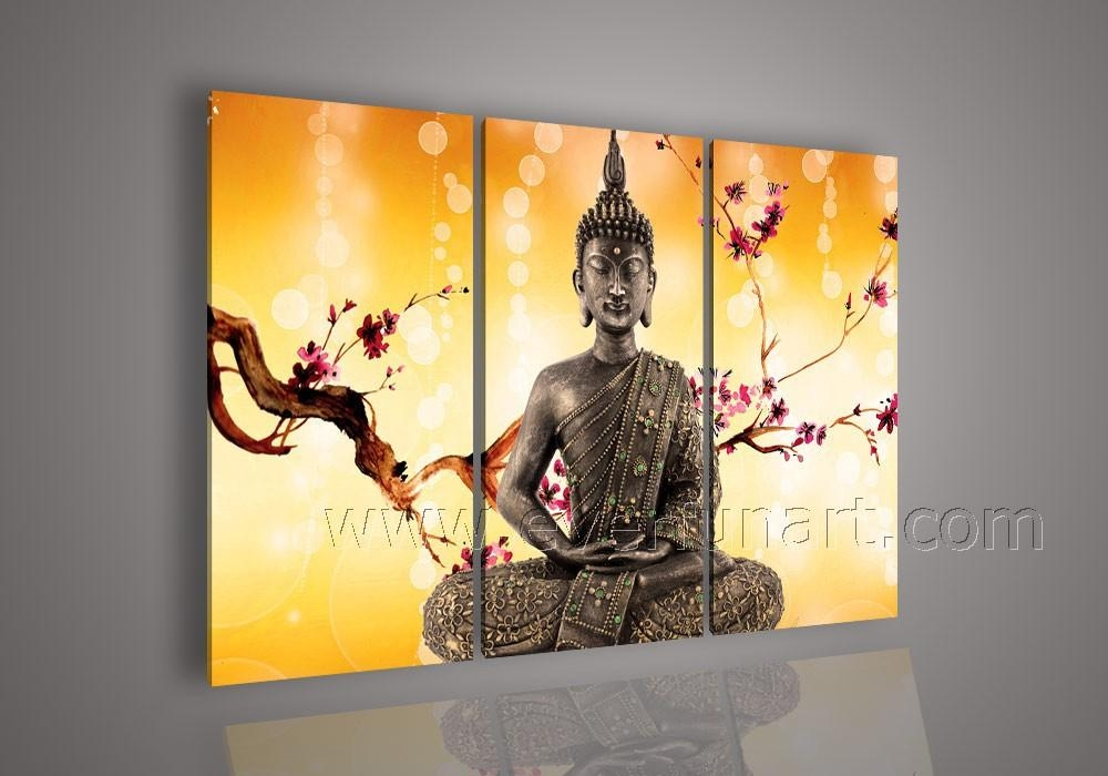 Free Shipping Framed ! Handmade Modern Abstract Art Buddha Oil Intended For Abstract Buddha Wall Art (Image 8 of 20)