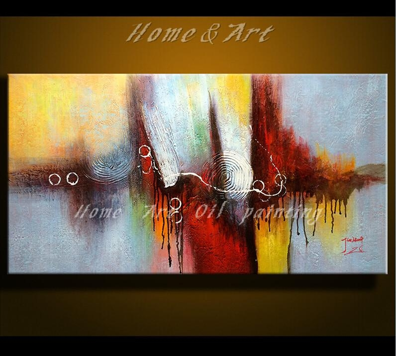 Free Shipping Hand Painted Canvas Wall Art Acrylic Abstract Oil For Acrylic Abstract Wall Art (View 2 of 20)
