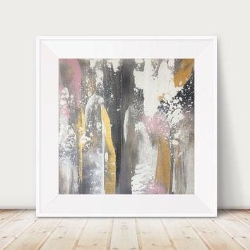 Free Shipping! Large Gold Painting Large From Glamgoldart On Etsy Within Black And Gold Abstract Wall Art (Image 10 of 20)