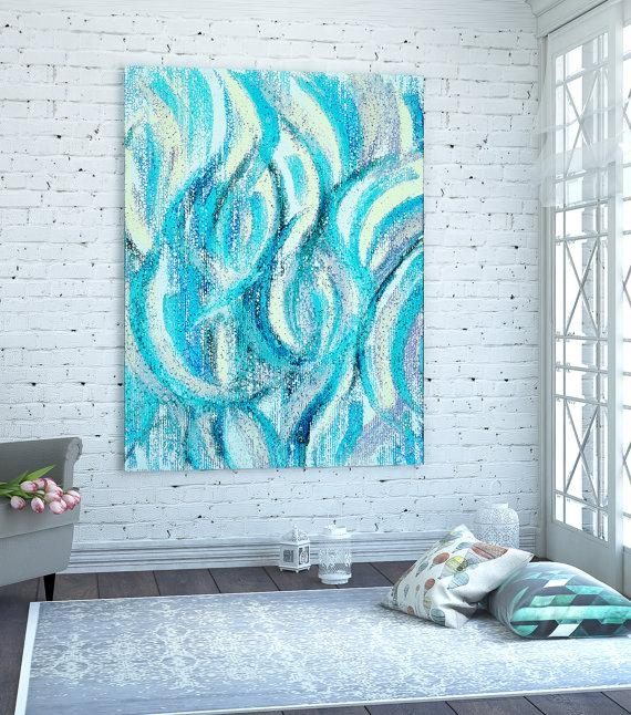 Giclee Canvas Print / Abstract Wall Art / Modern Contemporary Art Inside Blue Green Abstract Wall Art (Image 6 of 20)