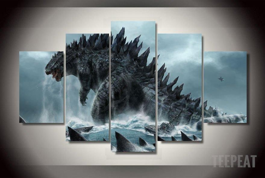 Godzilla Painting – 5 Piece Canvas Limited Edition | Godzilla With Regard To Limited Edition Canvas Wall Art (View 2 of 20)