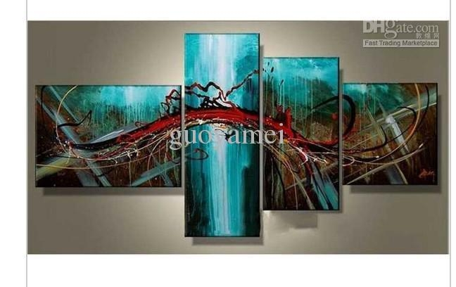 Group Wall Art Hand Painted Wall Art Blue Bridge Sky Modern Within Blue Canvas Abstract Wall Art (Image 8 of 20)