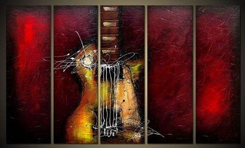 Guitar Passion Large Modern 5 Panels 100% Hand Painted Framed With Regard To Framed Abstract Wall Art (Image 14 of 20)
