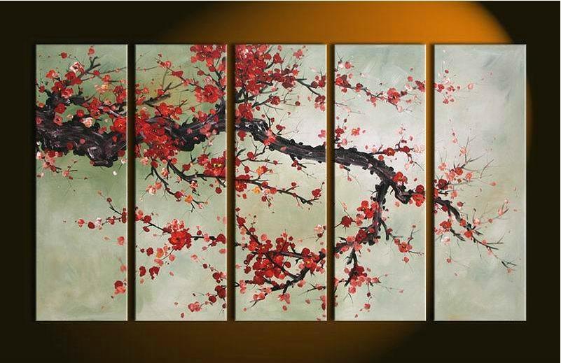 Hand Made 5 Pieces Cherry Blossom Painting Abstract Red Flower Oil For Abstract Cherry Blossom Wall Art (View 2 of 20)