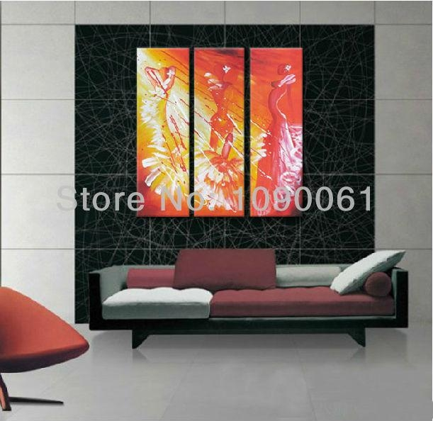 Hand Painted 3 Piece Paintings Beautiful Women Sexy Body Wall Art Throughout Abstract Body Wall Art (View 6 of 20)