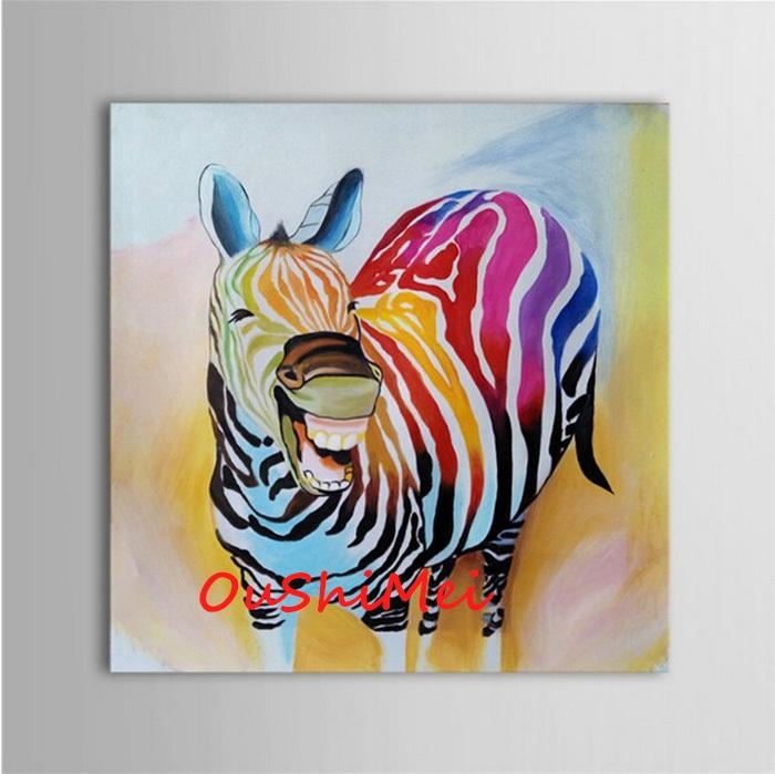 Hand Painted Abstract Animal Pictures Canvas Art Oil Painting Regarding Abstract Animal Wall Art (View 20 of 20)