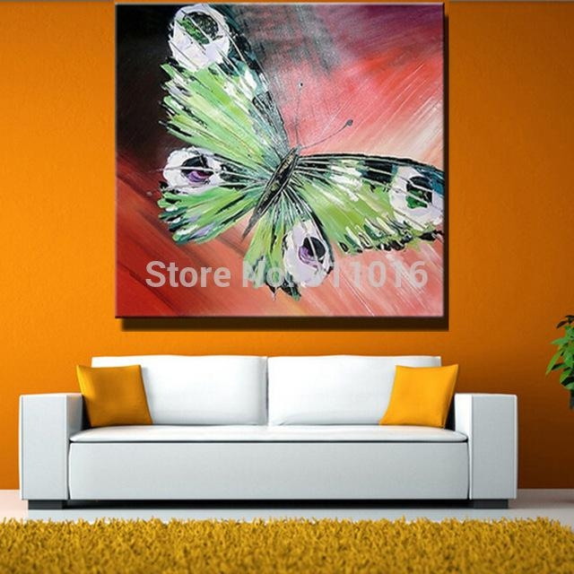 Hand Painted Abstract Butterfly Picture Home Decor Knife Oil Throughout Abstract Butterfly Wall Art (Image 11 of 20)