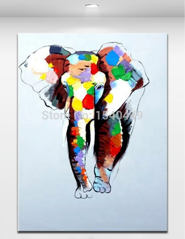 Hand Painted Abstract Cartoon Animal Pictures Canvas Art Oil For Abstract Elephant Wall Art (View 11 of 15)