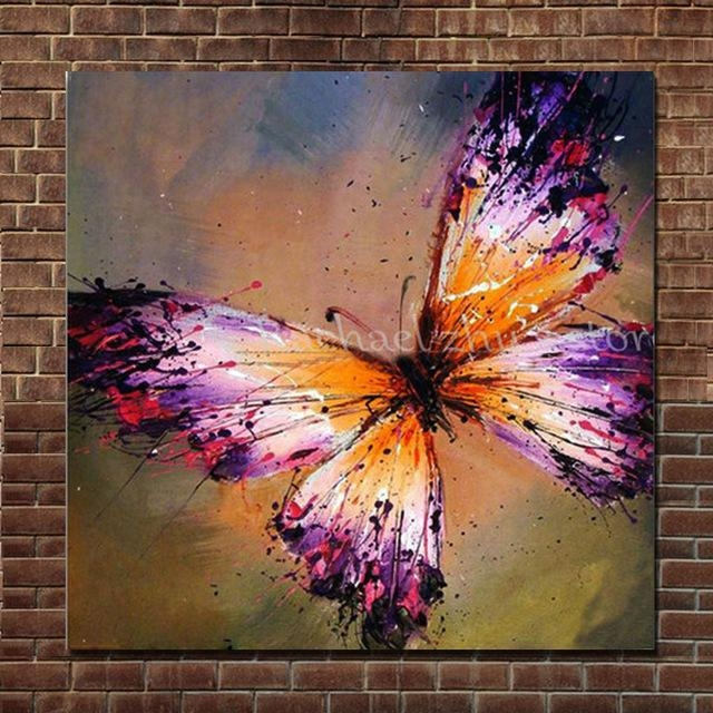Hand Painted Abstract Purple Butterfly Oil Painting On Canvas Inside Abstract Butterfly Wall Art (View 11 of 20)