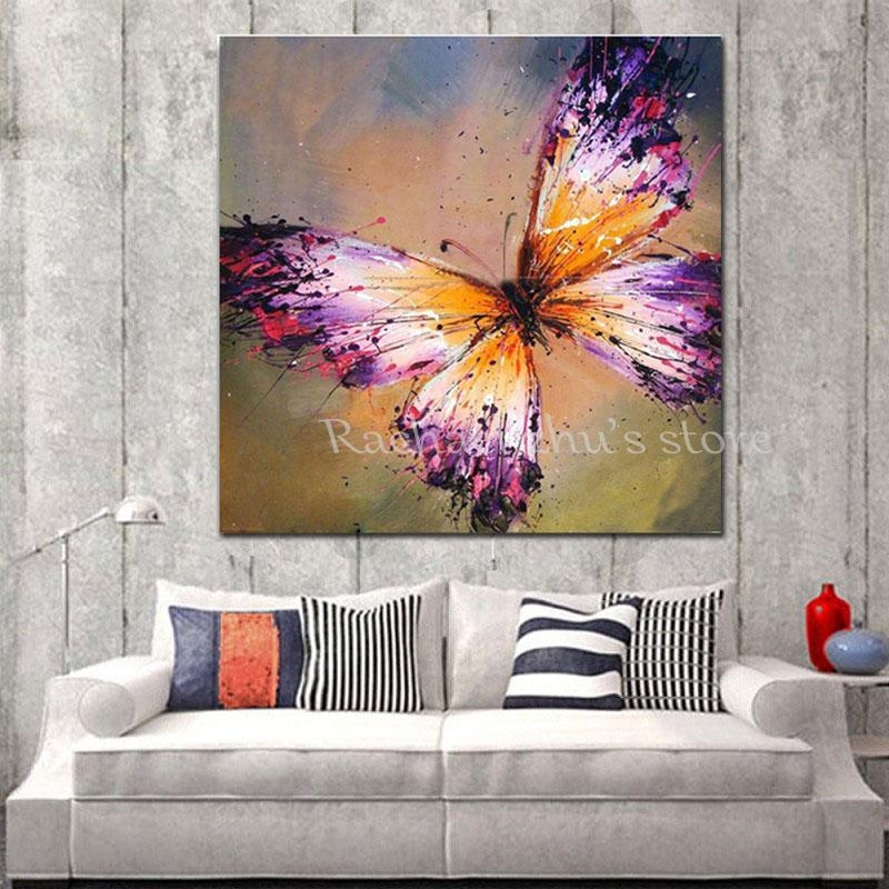 Hand Painted Abstract Purple Butterfly Oil Painting On Canvas Inside Abstract Butterfly Wall Art (View 7 of 20)