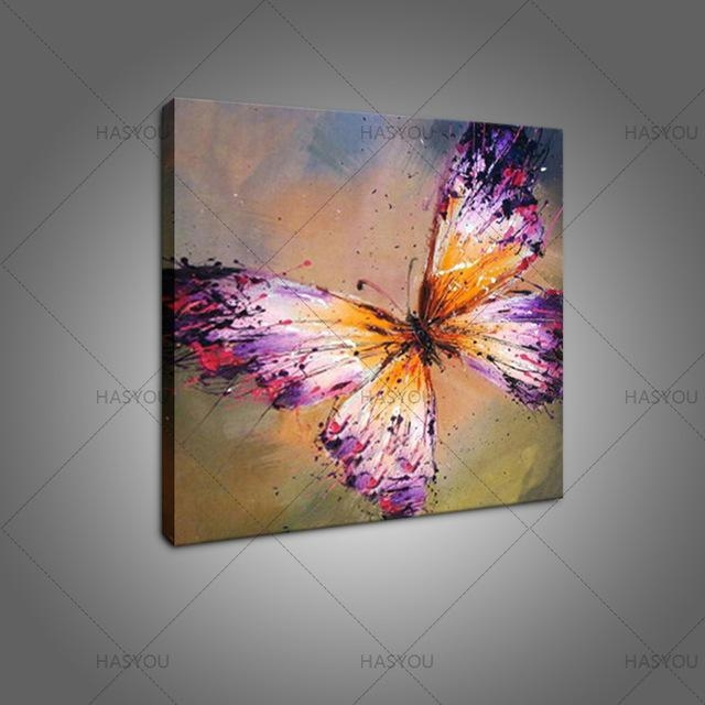 Hand Painted Abstract Purple Butterfly Oil Painting On Canvas With Abstract Butterfly Wall Art (View 8 of 20)