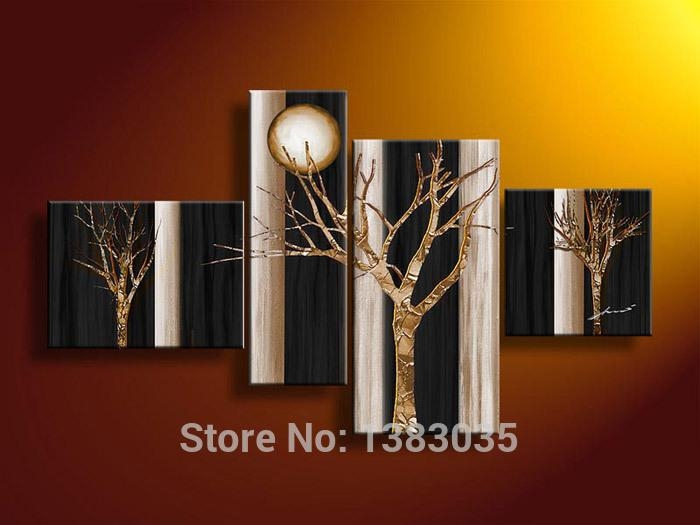 Hand Painted Abstract Trees Art Oil Paintings 4 Piece Canvas Wall Pertaining To Black And Gold Abstract Wall Art (Image 14 of 20)
