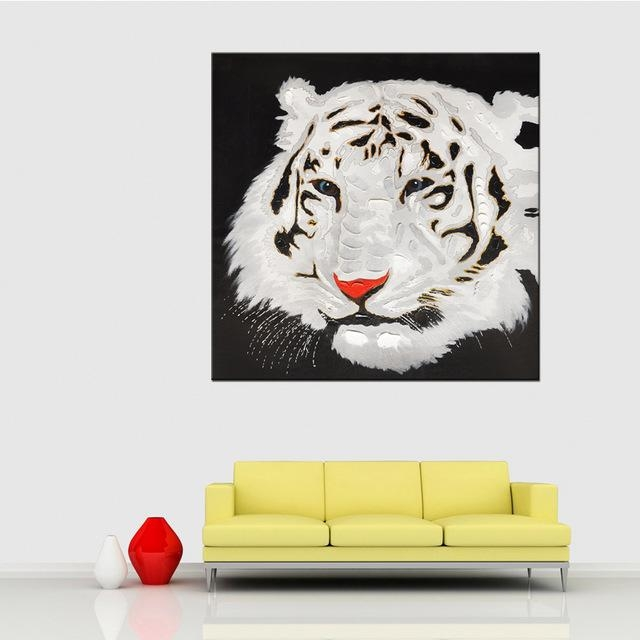 Hand Painted Acrylic Painting Black & White Tiger Canvas Oil With Abstract Animal Wall Art (View 8 of 20)