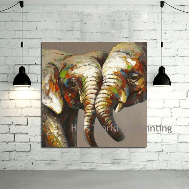 Hand Painted Canvas Art Abstract Elephant Oil Paintings Modern With Regard To Abstract Elephant Wall Art (View 10 of 15)