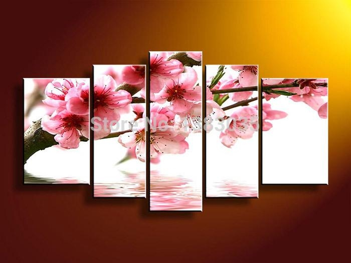 Hand Painted Cherry Blossom Arts 4 Piece Modern Flowers Oil In Abstract Cherry Blossom Wall Art (View 10 of 20)