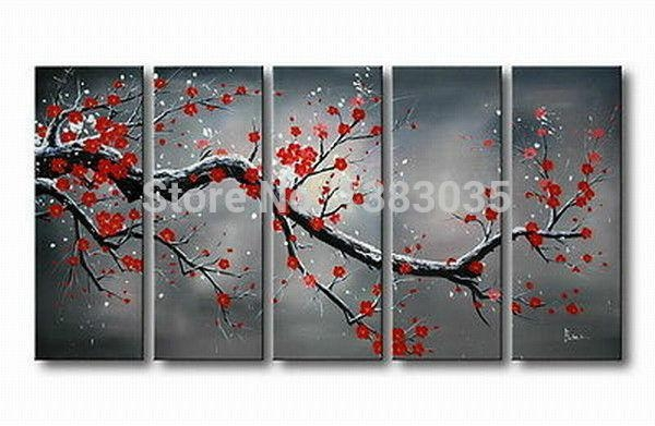 Hand Painted Cherry Blossom Landscape Painting Canvas Large Flower Throughout Abstract Cherry Blossom Wall Art (View 17 of 20)
