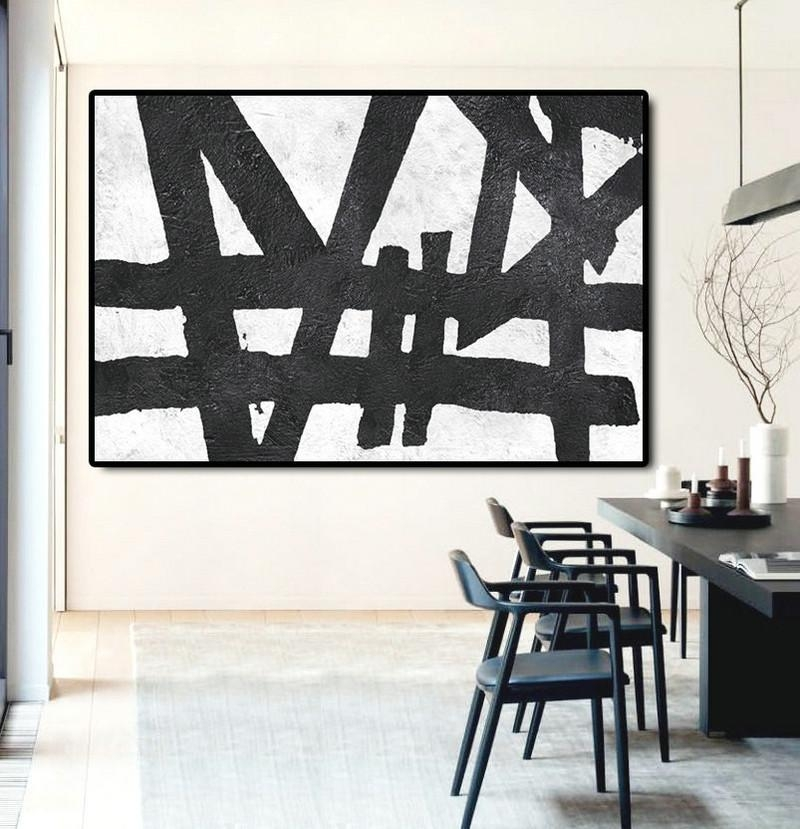 Hand Painted Extra Large Abstract Painting, Horizontal Acrylic Regarding Black And White Abstract Wall Art (Image 11 of 20)