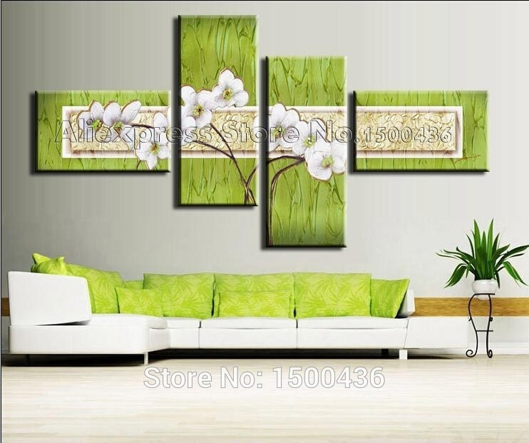 Hand Painted Flowers Oil Painting On Canvas 3 Piece Home Decor Regarding Green Abstract Wall Art (View 11 of 15)