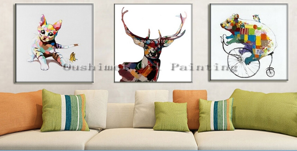 Hand Painted Knife Abstract Animal Deer Pictures Canvas Art Modern Pertaining To Abstract Deer Wall Art (Image 10 of 15)