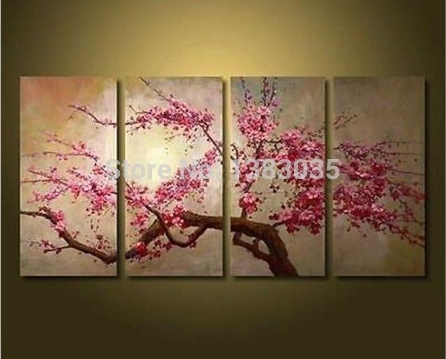 Hand Painted Large Abstract Modern Cherry Blossom Flowers Throughout Cherry Blossom Oil Painting Modern Abstract Wall Art (Image 11 of 20)