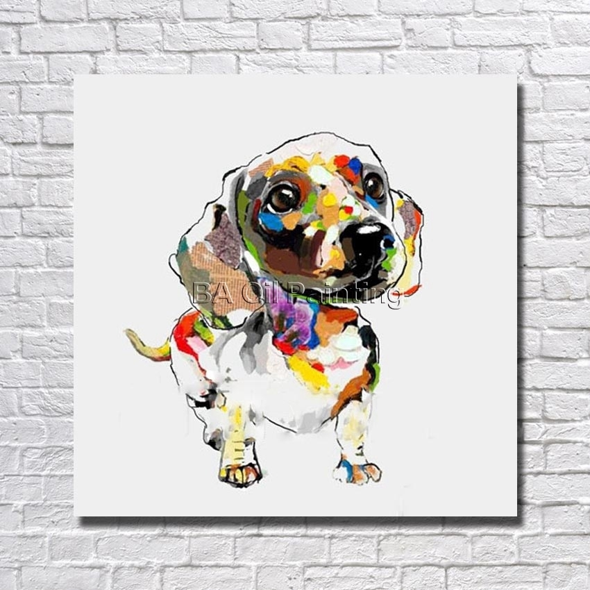 Hand Painted Large Canvas Paintings Abstract Dog Oil Paintings Pertaining To Abstract Dog Wall Art (Image 7 of 15)