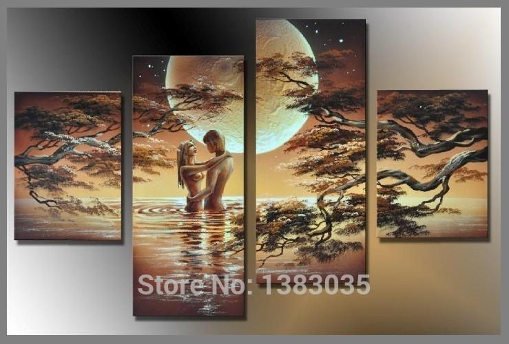 Hand Painted Nude Art Woman Body Painting Canvas Set 5 Piece Intended For Abstract Body Wall Art (View 4 of 20)
