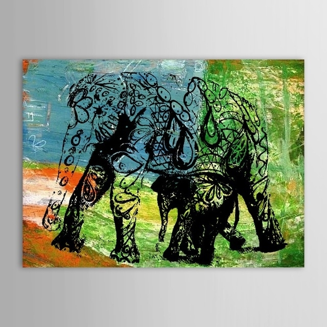 Hand Painted Oil Painting Animal Abstract Elephant Wall Picture With Regard To Abstract Elephant Wall Art (Image 10 of 15)