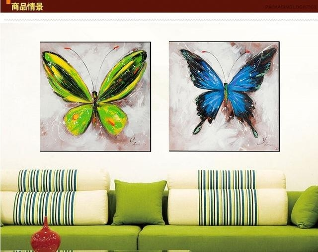 Hand Painted Oil Painting Butterfly Decorative Wall Art For Living Throughout Abstract Butterfly Wall Art (Image 15 of 20)