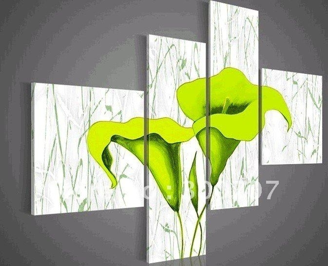 Hand Painted Oil Wall Art Pale Green Beautiful Flowers Decoration Pertaining To Green Abstract Wall Art (View 10 of 15)