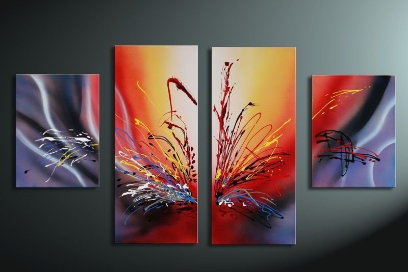 Hand Painted Oil Wall Art Warm Color The Sunset Home Decoration Throughout Colourful Abstract Wall Art (Image 6 of 15)