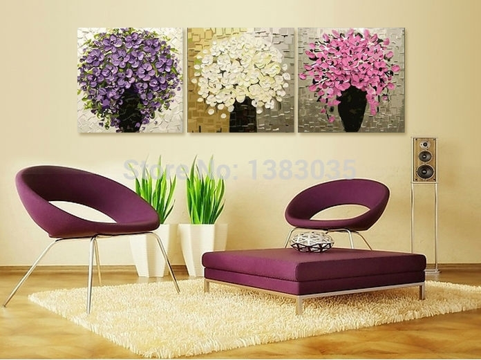 Hand Painted Palette Knife Oil Painting Art 3 Piece Modern Pertaining To Abstract Flower Wall Art (Image 12 of 15)