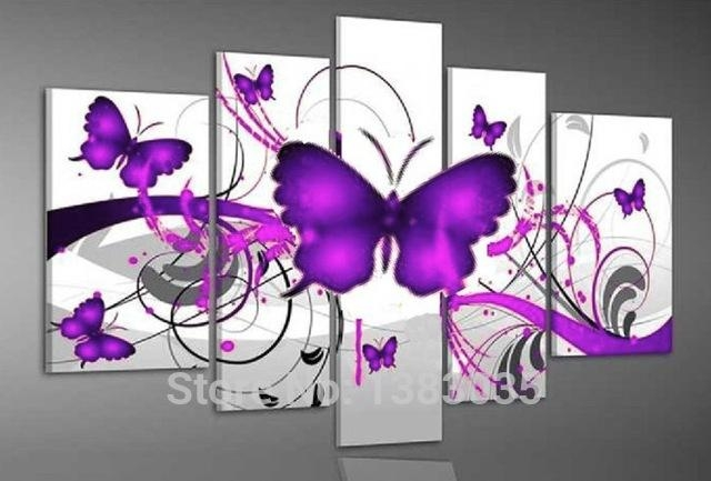 Hand Painted Purple Butterfly Wall Painting On Canvas 5 Piece For Abstract Butterfly Wall Art (Image 16 of 20)