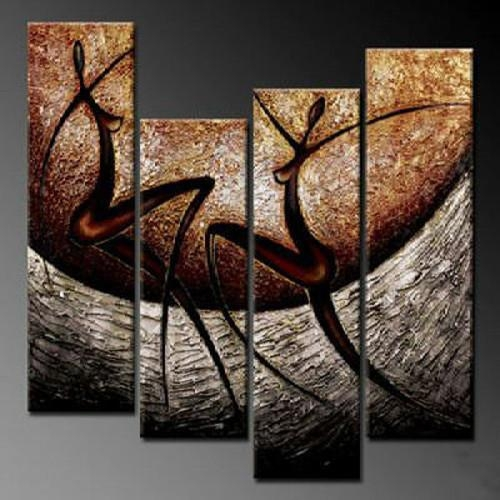 Hand Painting Oil Painting Living Room Decor Wall Paintings Group In Abstract Body Wall Art (View 7 of 20)