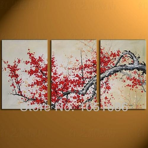 Handmade 3 Panel Decorative Modern Abstract Canvas Red Cherry Pertaining To Cherry Blossom Oil Painting Modern Abstract Wall Art (View 2 of 20)